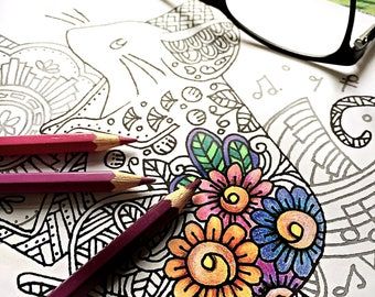 zentangle mouse printable coloring page ~ animal - Instant Download only, Art Printable illustrations