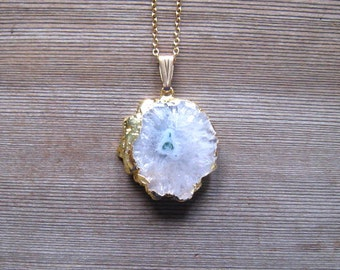 White Geode Necklace, Raw Stone Pendant, White Solar Quartz Geode Slice, Agate Druzy Pendant, Gold Filled, Layering Necklace