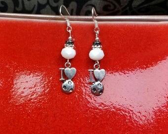 I Love Soccer Earrings, Silver Soccer Earrings, White Soccer Sterling Silver Earrings, I Heart Soccer Earrings, White Soccer Earrings