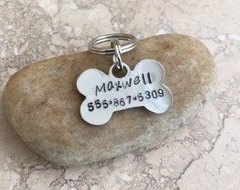 Tiny Bone / Pet ID Tag / Dog Tag / Key Chain / Personalized / Customized / Silver / Stainless Steel / Small Breed / Toy Breed /Handmade B055