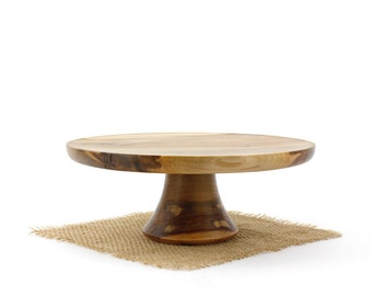 Sweet Gum Cake Stand - Wooden Pedestal Cake Plate - Cupcake Stand