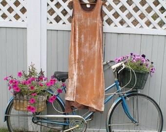 90s Silk Velvet Art Dress Minimalist  Maxi Dress Cocoa brown imprinted velvet and silk dress avante garde