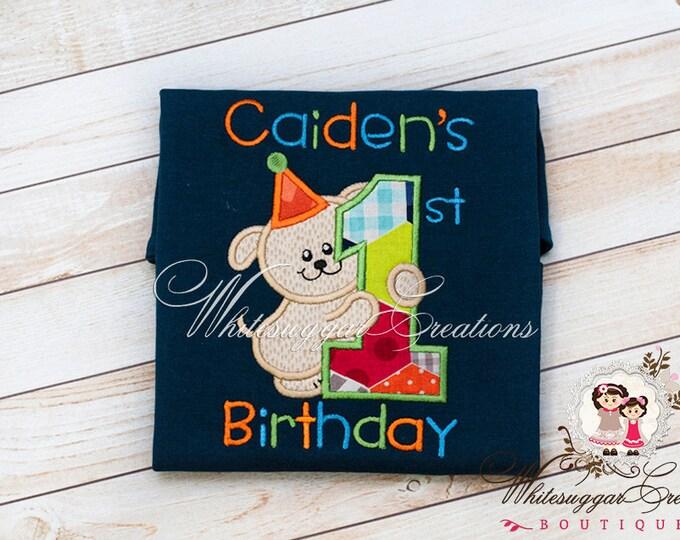 Boys Birthday Puppy Shirt - Custom Personalized Shirt - Baby Boy 1st Birthday Party - Puppy Love
