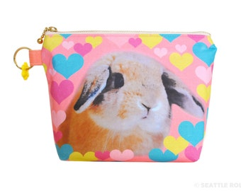 Orange Apollo's Flat Bottom Zipper Pouch for Bunny Lovers (I Heart Bunnies)