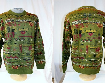 1990's Men's Olive Green Wool Sweater Pullover Jumper size 100cm/Medium Andean Abstract Southwestern Graphic Urban Hipster