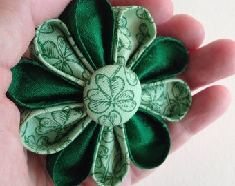 Green Silk Brooch -St. Patrick's Day Flower Pin - Kanzashi with Shamrocks Print - Boutonniere