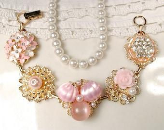 OOAK Rose Petal & Blush Pink Pearl Rhinestone Gold Bridal Bracelet, Vintage Cluster Earring Bracelet, Bridesmaid Gift Country Wedding Flower