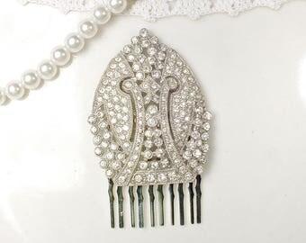 Original Art Deco Rhinestone Bridal Hair Comb, 1920s Heirloom Crystal Silver Leaf Dress Clip to Hairpiece Vintage GATSBY Wedding Flapper