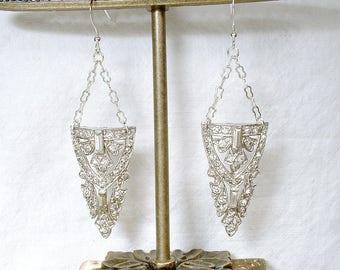 OOAK Authentic Antique 1930s Art Deco Bridal Dangle Earrings, Sterling Silver Paste Rhinestone Vintage Dress Clip Statement, Flapper Jewelry