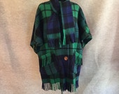 Vintage Plaid Cape, 70s Cape, Blue and Green Tartan, Fringed, Women's Small to Medium to Large, OSFM