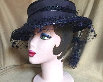 Vintage 40's Navy Blue Hat, Woven Straw Hat, Blue Summer Tilt Hat with Veil, Boater Hat, OSFM,