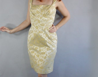 Vintage 50s 1950s Women's Gold Yellow Brocade Wiggle Hourglass Pinup Viva Las Vegas Wedding Guest Party Dress