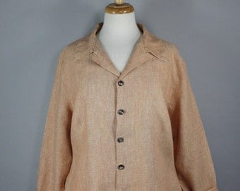 Women's Earth Tone Blush Nude Linen Blouse Shirt, cp shades, Vintage 90s, Wear to Work, Button Down, Long Sleeve, Large, FREE SHIIPING