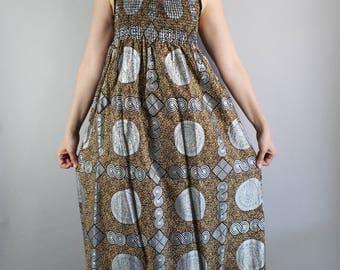 FREE SHIPPING African Wax Print Brown Silver Cotton Summer Dress, Maxi Dress, Festival Dress, Metallic, Afropunk, Tiki Party, Size Medium