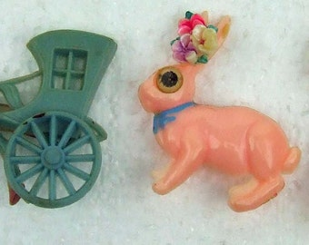 Vintage Celluloid Set Three Brooch Rabbit Bunny Ducky Horse Carriage Blinking Winking Eyes Set Easter Bonnets Kitsch Retro Baby Pink Green