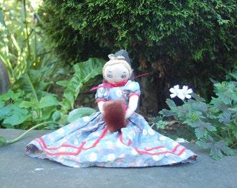 Vintage Handmade  Folk Art Doll w/ blue floral print dress , Cloth Doll w/ nicely Embroidered Face, Child's Rag Doll, Primitive Fabric Doll