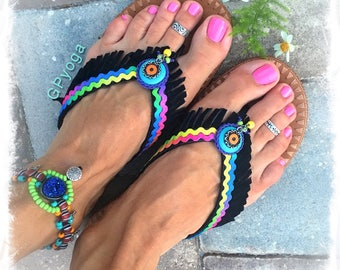 Neon RAINBOW Black flip flops US size 7-8 Leather Fringe sandals Turquoise Love Colorful shoes Bohemian Summer Girl Womens Fashion GPyoga