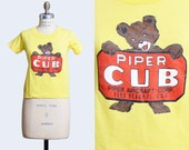 Vintage 1970s Piper Cub Piper Aircraft Corp TShirt / 1970s Hipster T Shirt Bear Graphic Tee Kawaii Retro Tee Shirt xs s