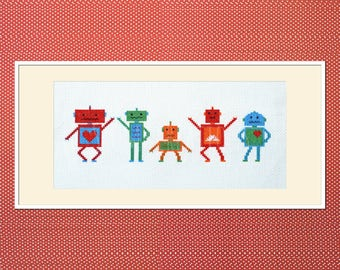 "Robot cross stitch pattern: ""Dancing Robots"" - cross stitch pdf pattern, pixel cross stitch, cute kawaii robot pattern - INSTANT DOWNLOAD"
