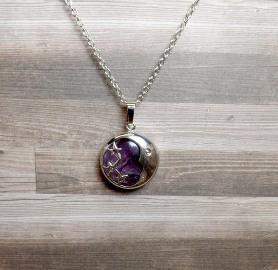 Amethyst Moon & Stars Necklace - Purple Moon - Gemstone Necklace - Crescent Moon Necklace