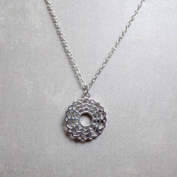 Silver Plated Crown Chakra Necklace - Chakra Charm Necklace - Crown Chakra Pendant