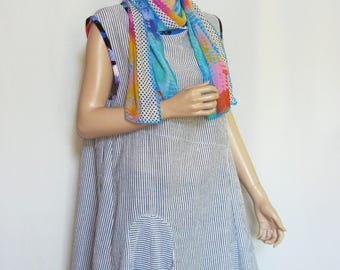 Size L Cotton  Dress with Scarf