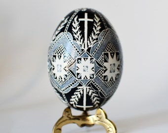 Pysanka chicken egg shell hand painted ornament with crosses for Easter basket or tree decoration Nurse day gift way to say thank you lord