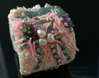 Mermaid in Net - Bead Embroidered Wide Cuff Bracelet, Expandable, Abstract Art Jewelry, Coral, Pearls, Crystals, Glass