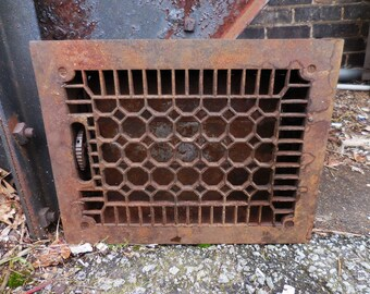 Antique Metal Grate Floor Wall w/ Vents Architectural salvage Art Deco Gothic Decorative