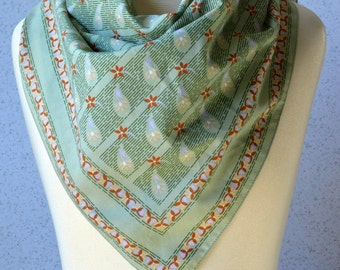 Vintage Square Scarf: Paisley, ornate, pale green, pastel, rust