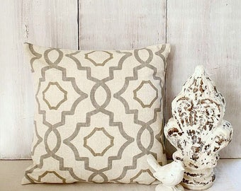 Geometric Pillow Cover - Pewter Gray - Tan - Cream - Taupe Pillow - Grey and Tan Pillow - Traditional - Cottage