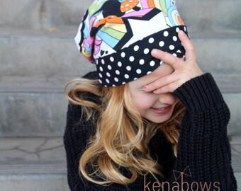 Slouchy Beanie Hat, Skater Girl, Rainbow, Polka Dots, Black, Hipster Slouch Hat, Urban, Trendy Hat, Toddler, School Beanie, Newborn, Tween