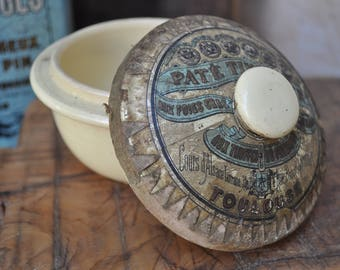Antique French Terrine with Paper Label Earthenware