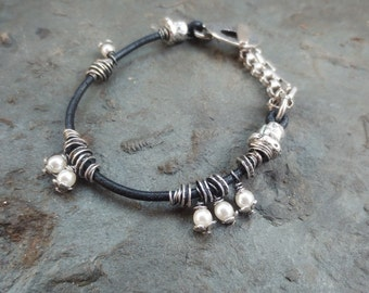 Sterling Silver Bracelet, Leather Cord Bracelet ,Glass Pearl Beads