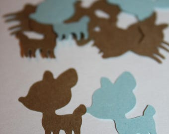 Deer Die Cut Confetti - Blue and Brown