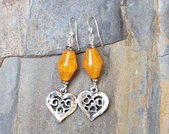 Heart Earrings, Orange Earrings, Stone Earrings, Tangerine Earrings, Love Earrings, Handmade Earrings, Colorful Earrings, Bright Earrings