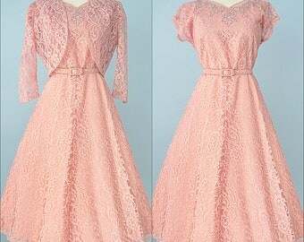 1950s Party Dress...Beautiful Rose Lace Party Dress and Bolero