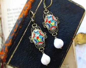 La Dolce Vita,Vintage Micro Mosaic Italian Glass Floral & Filigree ; Genuine Teardrop Baroque Pearl Assemblage Earrings, Hollywood H