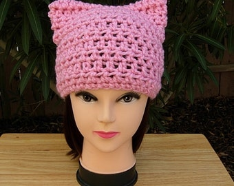 Light Pink Pussy Cat Hat with Kitty Ears, Handmade Soft 100% Acrylic Crochet Knit Winter Solid Pink Beanie Women's March 2017, Ready to Ship