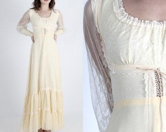 Gunne Sax Dress Jessica McClintock Dress Boho Wedding Dress Boho Dress Lace Dress Vintage 70s Dress Floral Hippie Prairie Cream Maxi S