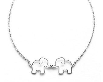 Elephant Necklace - Two Elephants Kissing Necklace