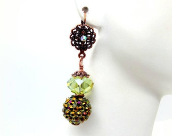 Purple, Green and Gold Pava Crystal Earrings, Beautiful Purple and Green Earrings