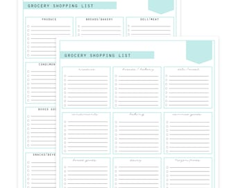 Grocery Shopping Lists - 2 documents - script and block - Instant Download