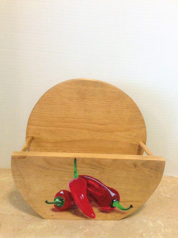 Paper Plate Holder, Wooden Plate Holder,Chili Pepper Decor, Chili Pepper Kitchen, Chili Peppers, Mother's day gift, Red Pepper