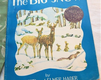 The Big Snow Vintage Children's Picture Book by Hader, 1993 reprint / 1949 Caldecott Medal /Winter Wild Animals Illustrated Nature Story
