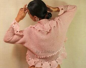 Pink Knit Shrug, Crochet Shrug, Knit Bolero, Sweater Cardigan, Crochet Bolero,  Bridal Lace Shrug, Bell Long Sleeve, Bridal Shrug Bolero