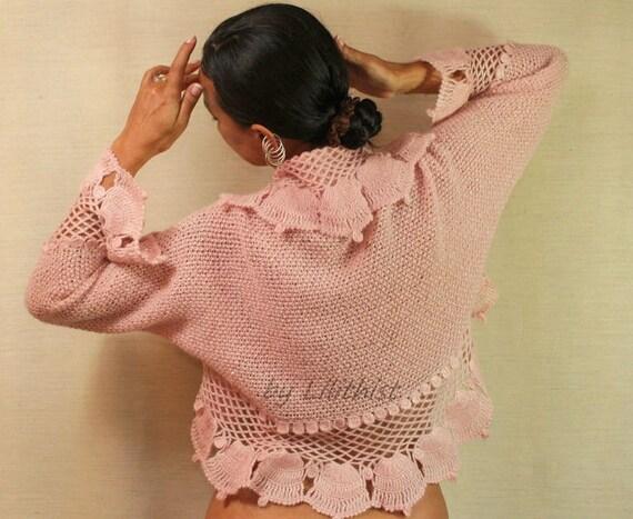 Pink Shrug, Bridal Bolero, Knit Shrug, Crochet Shrug, Wedding Shrug, Knit Bolero, Sweater Cardigan, Crochet Bolero,Bell Long Sleeve / SALE