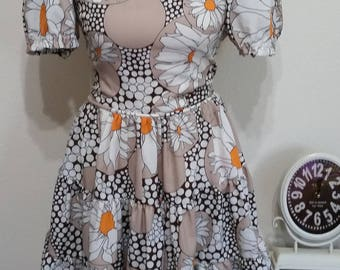 Vintage 1960's to 70's Rockabilly Square Dance Dress, Large Floral Print, Size M/L, #65275