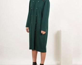 Oversized Dark Green Dress / Holiday  Long Sleeve Dress / Large Midi Dress