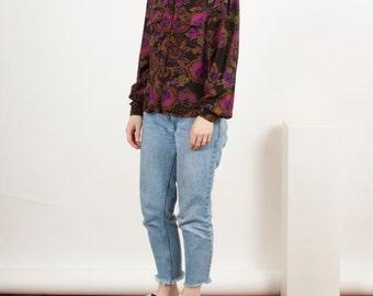 Paisley Dark Blouse / Long Sleeve Fall  Shirt / Button Up Retro Shirt